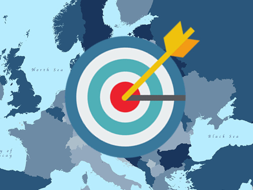 A map of europe with an arrow in the bullseye of a target on top of the picture