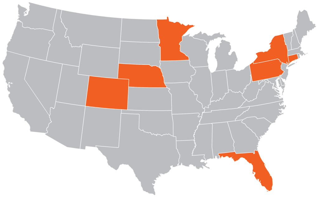 Map of the USA with the states of Colorado, Nebraska, Minnesota, New York, Pennsylvania, Connecticut and Florida highlighted in aJuxt's orange brand color