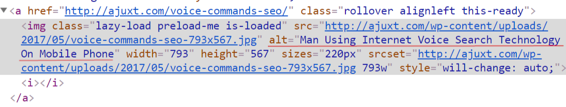 seo best practices tips: snippet of code showing alt text