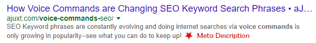 Example of a search engine result--specifically the title, URL, and meta description