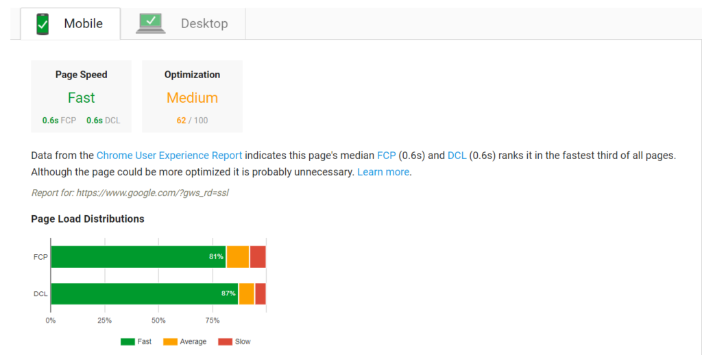 Screenshot of results from Google's pagespeed insights which includes page speed and optimization level for both mobile devices and desktops