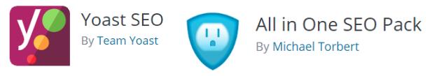 Yoast SEO plugin logo and All in one SEO pack plugin logo