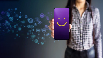 Customer Experiences Concept. Happy Female Client Giving Smiling Emoticon Rating, Positive Review via Smartphone. Client's Satisfaction Surveys on Mobile Phone. Front View