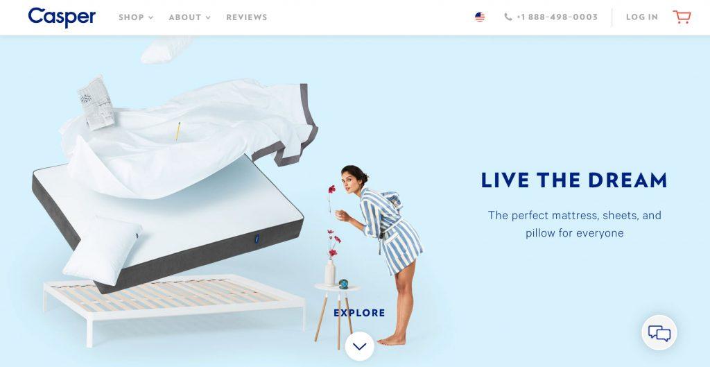 Example of digital design trends: thoughtful animations; screen capture of Casper website homepage