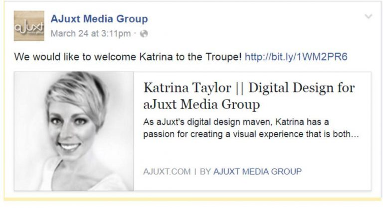 Facebook post demonstrating social media strategies including sharing your business' accomplishments and exciting news