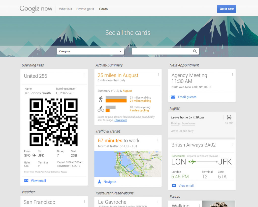 Example of the digital design trend of a card layout; screenshot from google now's main page